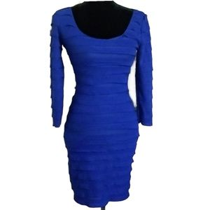 MAX STUDIO Dress Blue Mini Long Sleeve Ruffles